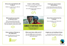 """A home learning grid showing nine boxes (3x3). The center square has text saying, """"SAMUEL'S FAIRTRADE STORY,"""" and the surrounding eight boxes have more learning information in them."""