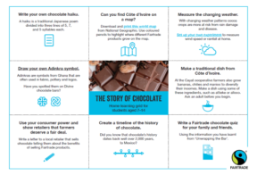 """A home learning grid showing nine boxes (3x3). The center square has text saying, """"THE STORY OF CHOCOLATE,"""" and the surrounding eight boxes have more learning information in them."""