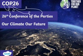 """A poster which has a photograph of the planet earth from space as a background. On of the photograph is text that says, """"COP26. 26th Conference of the Parties. Our Climate Future."""" There are also two logos; Together for our Planet and Twinkl."""